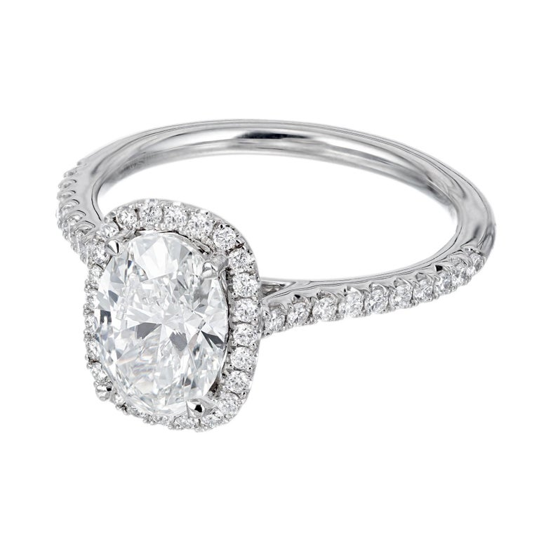 Oval Cut Peter Suchy GIA Certified 1.51 Carat Diamond Platinum Engagement Ring For Sale