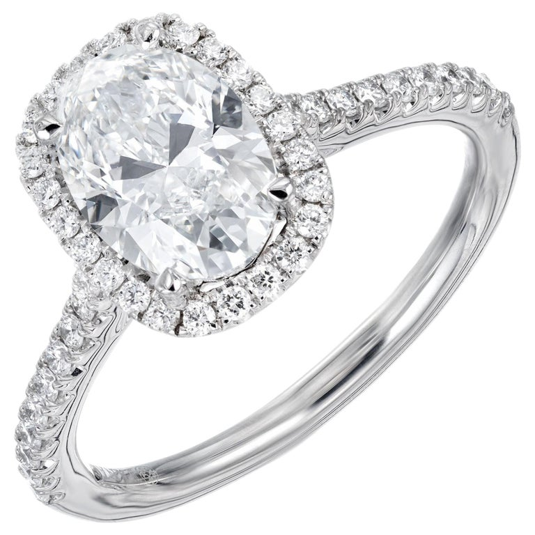 Peter Suchy GIA Certified 1.51 Carat Diamond Platinum Engagement Ring For Sale
