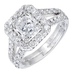 Peter Suchy GIA Certified 1.53 Carat Diamond Platinum Halo Engagement Ring