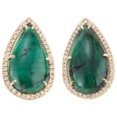 Peter Suchy GIA Certified 15.53 Carat Emerald Diamond Halo Yellow Gold Earrings