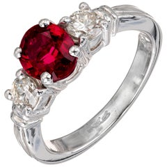 Peter Suchy GIA Certified 1.57 Carat Ruby Diamond Platinum Engagement Ring