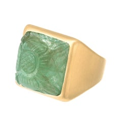 Peter Suchy GIA Certified 15.92 Carat Mogul style  Carved Emerald Gold Ring