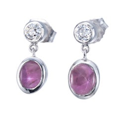 Peter Suchy GIA Certified 1.60 Carat Star Ruby Diamond Platinum Dangle Earrings