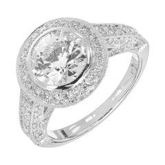 Peter Suchy GIA Certified 1.61 Carat Pave Diamond Halo Platinum Engagement Ring