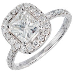 Peter Suchy GIA Certified 1.64 Carat Diamond Platinum Engagement Ring