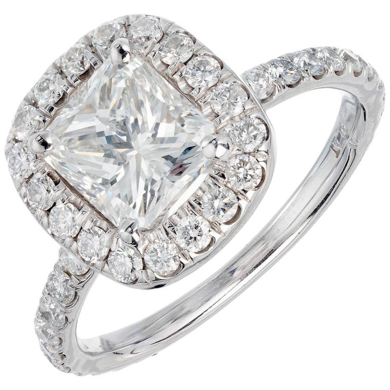 Peter Suchy GIA Certified 1.64 Carat Diamond Platinum Engagement Ring For Sale