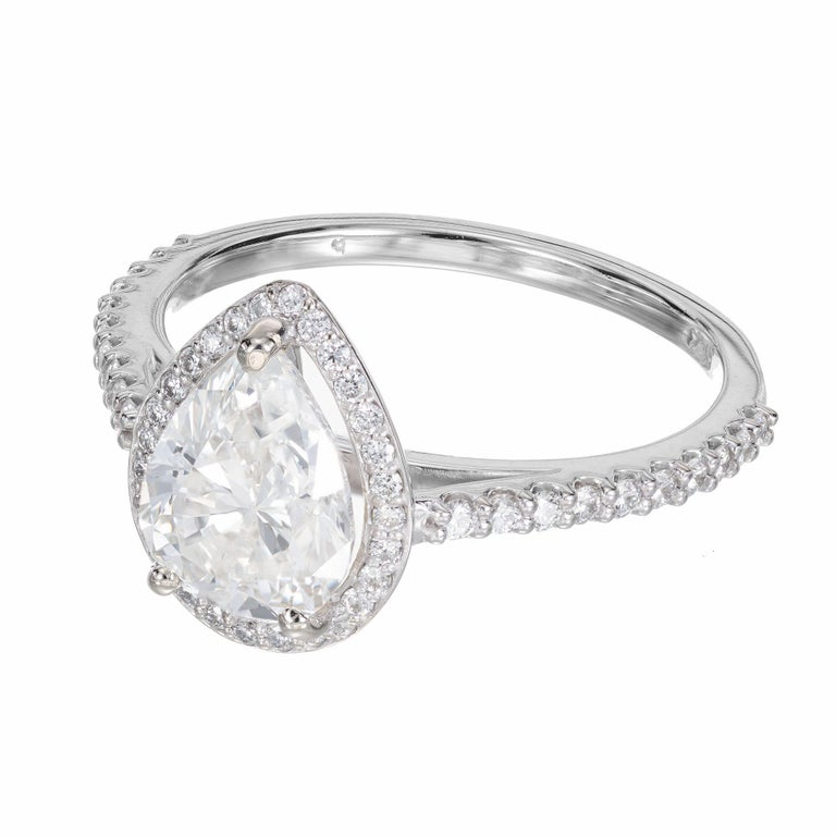 Pear Cut Peter Suchy GIA Certified 1.65 Carat Pear Shape Diamond Halo Engagement Ring For Sale