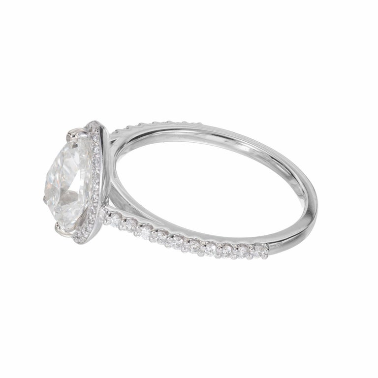 Peter Suchy GIA Certified 1.65 Carat Pear Shape Diamond Halo Engagement Ring In New Condition For Sale In Stamford, CT