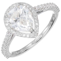 Peter Suchy GIA Certified 1.65 Carat Pear Shape Diamond Halo Engagement Ring