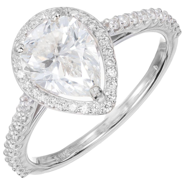Peter Suchy GIA Certified 1.65 Carat Pear Shape Diamond Halo Engagement Ring For Sale