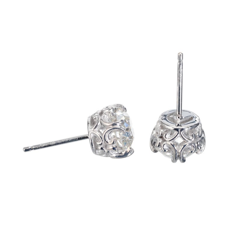 Old Mine Cut Peter Suchy GIA Certified 1.80 Carat Platinum Stud Earrings For Sale