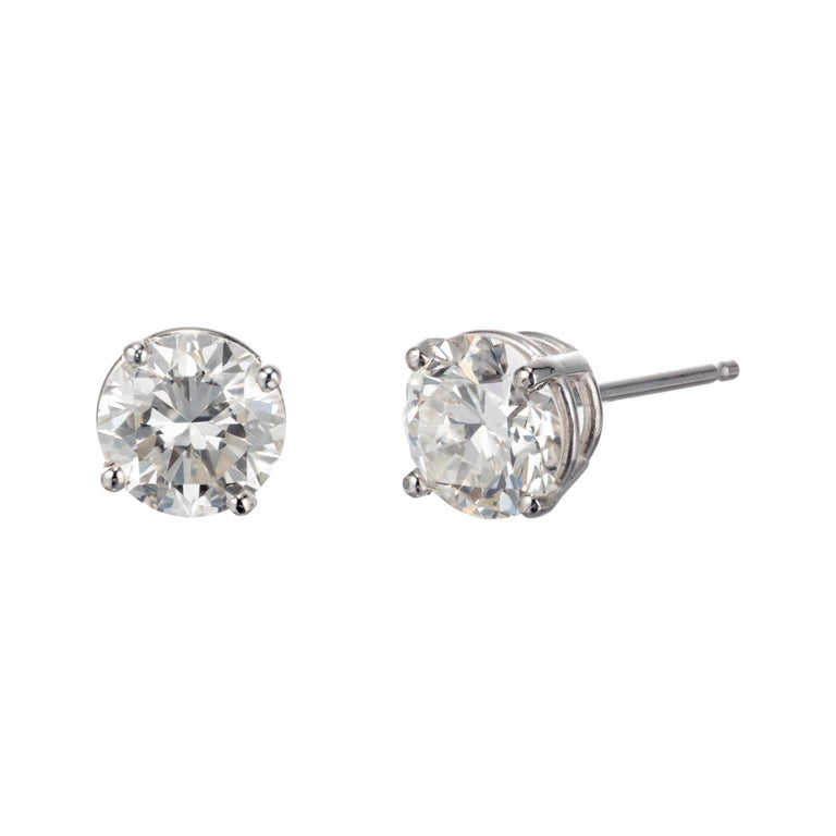 Peter Suchy GIA Certified 1.84 Carat Diamond Platinum Stud Earrings For Sale