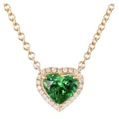 Peter Suchy GIA Certified 1.88 Carat Tsavorite Diamond Gold Heart Pendant