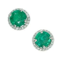 Peter Suchy GIA Certified 1.90 Carat Emerald Diamond 18 Karat Gold Earrings