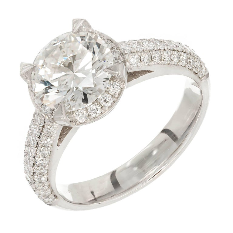 Peter Suchy GIA Certified 2.01 Carat Halo Diamond Platinum Engagement Ring