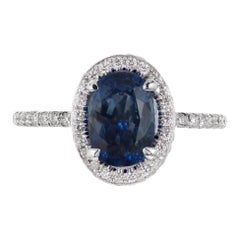 Peter Suchy GIA Certified 2.02 Carat Sapphire Diamond Platinum Engagement Ring