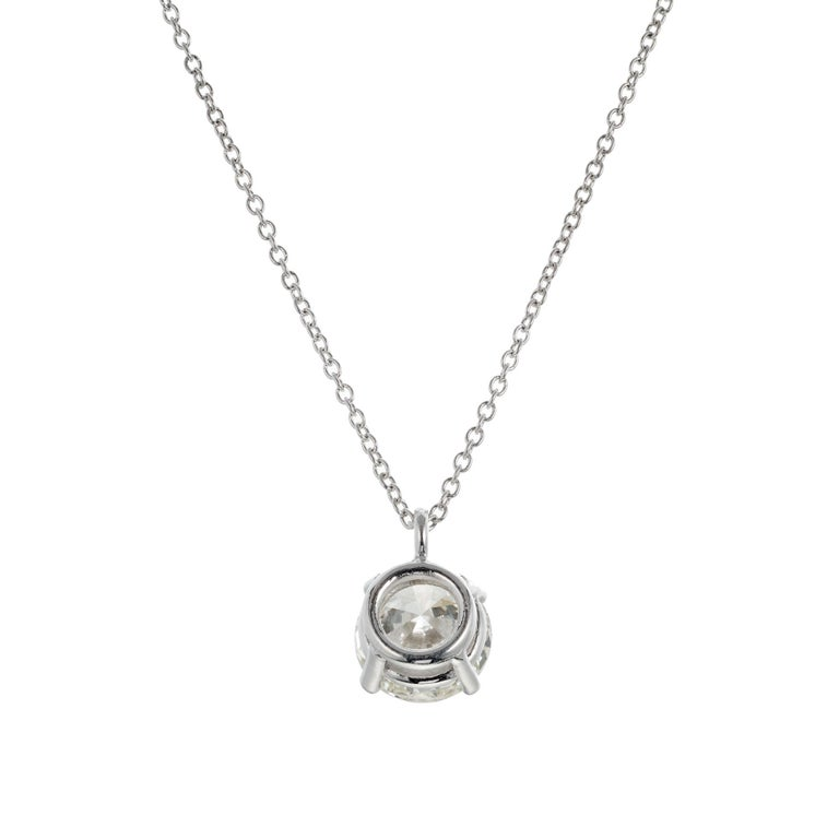 Round Cut Peter Suchy GIA Certified 2.05 Carat Diamond Platinum Pendant Necklace For Sale