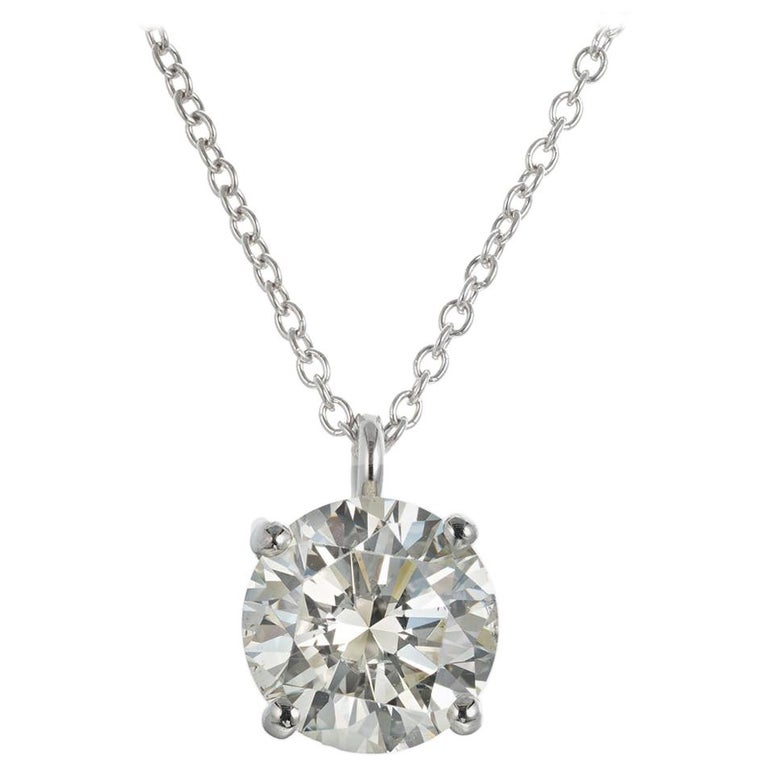 Peter Suchy GIA Certified 2.05 Carat Diamond Platinum Pendant Necklace For Sale