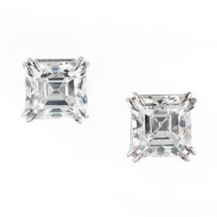 Peter Suchy GIA Certified 2.08 Carat Diamond Platinum Stud Earrings