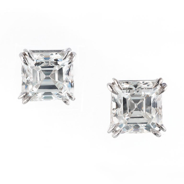 Peter Suchy GIA Certified 2.08 Carat Diamond Platinum Stud Earrings For Sale