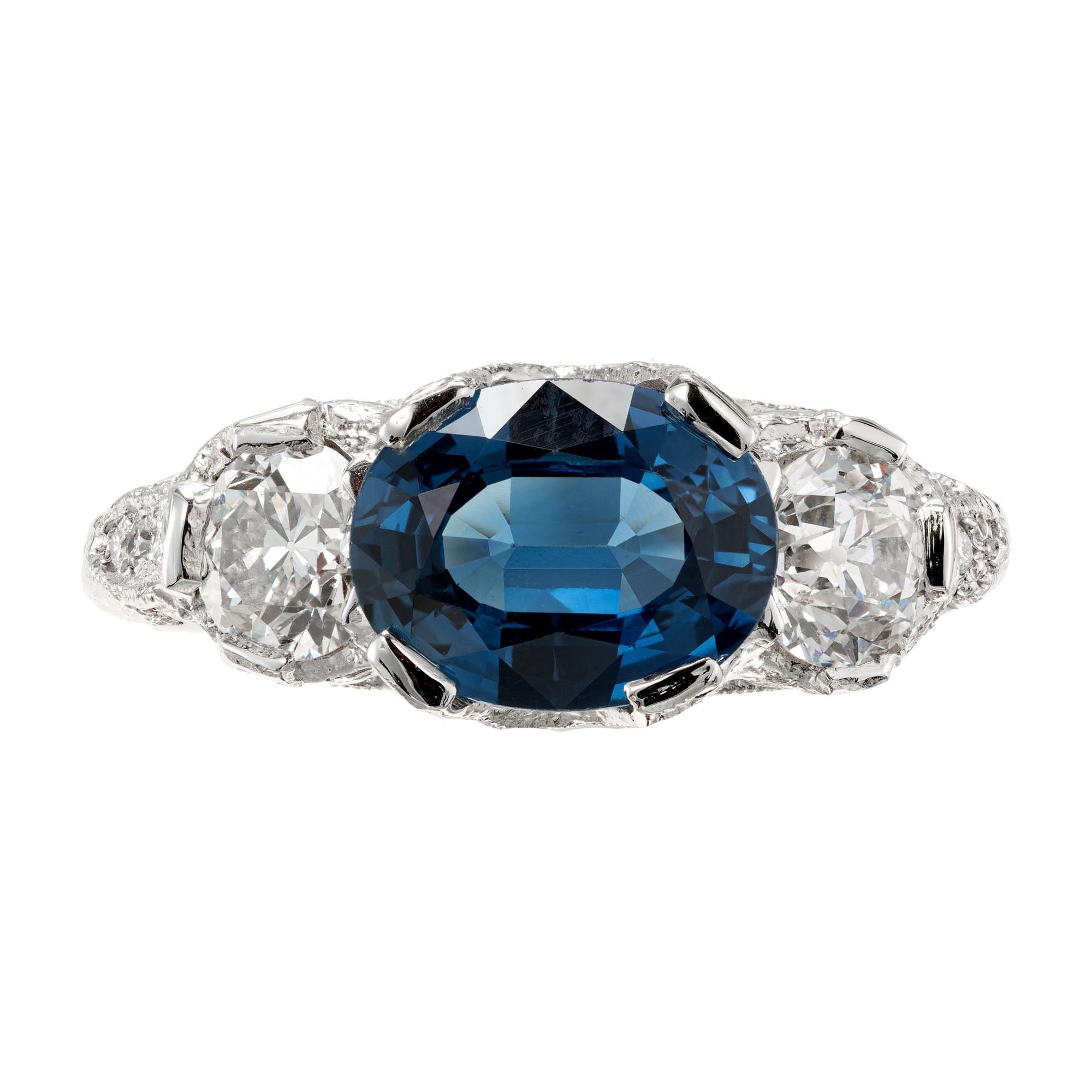 Peter Suchy GIA Certified 2.13 Carat Sapphire Diamond Platinum Engagement Ring