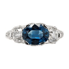 Peter Suchy GIA Certified 2.13 Carat Sapphire Diamond Platinum Engagement Ring