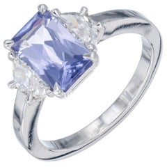 Peter Suchy GIA Certified 2.17 Carat Sapphire Diamond Platinum Engagement Ring