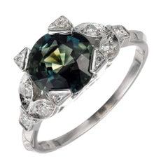 Peter Suchy GIA Certified 2.20 Carat Sapphire Diamond Platinum Engagement Ring