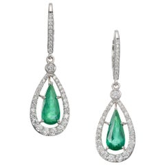 Peter Suchy GIA Certified 2.23 Carat Emerald Diamond White Gold Dangle Earrings
