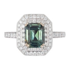 Peter Suchy GIA Certified 2.45 Carat Sapphire Diamond Gold Engagement Ring