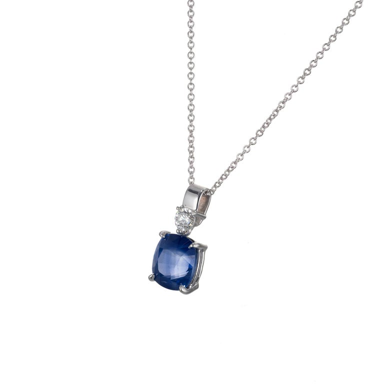 Peter Suchy cushion cut sapphire  and round diamond pendant necklace. Set in 14k white gold. GIA certified natural sapphire simple heat only.   1 oval cushion blue sapphire, approx. 2.51ct GIA certificate # 1182062020 1 round brilliant cut diamond G