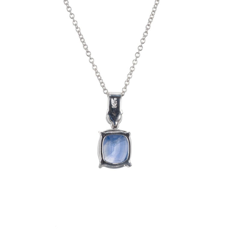 Oval Cut Peter Suchy GIA Certified 2.51 Carat Sapphire Diamond Gold Pendant Necklace For Sale