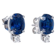 Peter Suchy GIA Certified 2.71 Carat Blue Sapphire Diamond White Gold Earrings