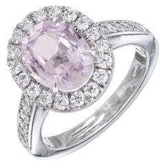 Peter Suchy GIA Certified 2.74 Carat Pink Sapphire Diamond Halo Platinum Ring