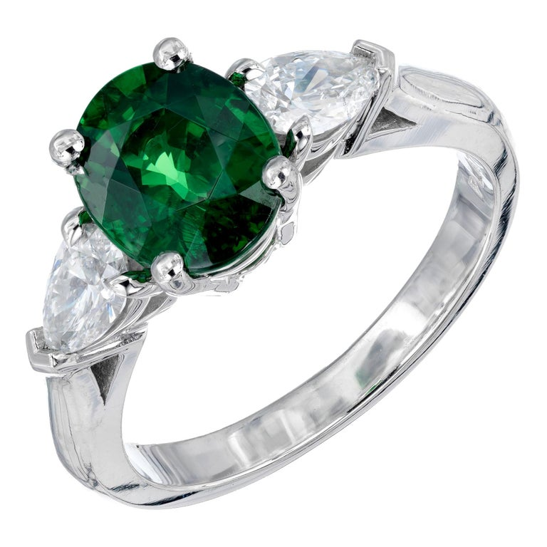 Peter Suchy GIA Certified 2.82 Carat Tsavorite Diamond Platinum Engagement Ring For Sale