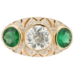 Peter Suchy GIA Certified 2.87 Carat Diamond Emerald Gold Engagement Ring
