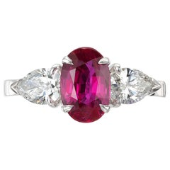 Peter Suchy GIA Certified 2.95 Carat Ruby Diamond Platinum Engagement Ring