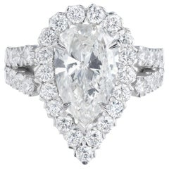 Peter Suchy GIA Certified 2.96 Carat Pear Diamond Halo Platinum Ring