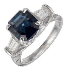 Peter Suchy GIA Certified 2.97 Carat Sapphire Diamond Platinum Engagement Ring