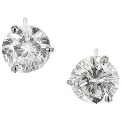 Peter Suchy GIA Certified 3.00 Carat Diamond Platinum Martini Stud Earrings