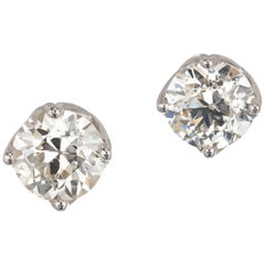 Peter Suchy GIA Certified 3.18 Carat Diamond Platinum Stud Earrings