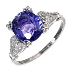 Peter Suchy GIA Certified 3.22 Carat Violet Sapphire Diamond Engagement Ring