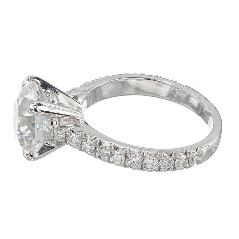 Round Cut Peter Suchy GIA Certified 3.37 Carat Diamond Platinum Engagement Ring For Sale