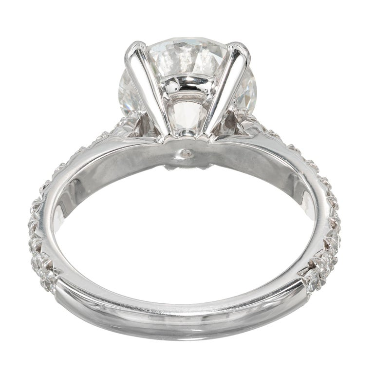 Peter Suchy GIA Certified 3.37 Carat Diamond Platinum Engagement Ring In New Condition For Sale In Stamford, CT