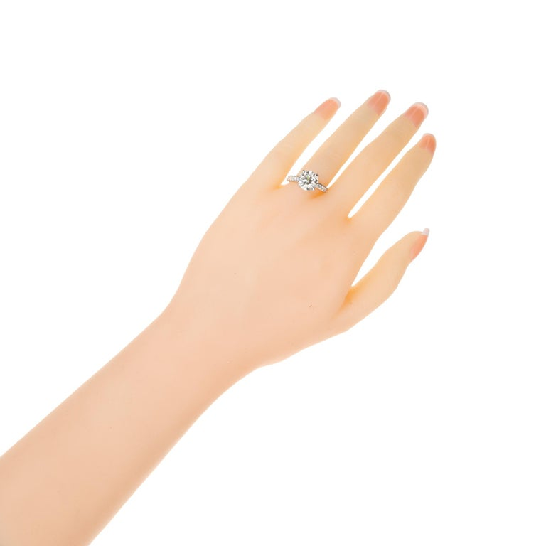 Peter Suchy GIA Certified 3.37 Carat Diamond Platinum Engagement Ring For Sale 1