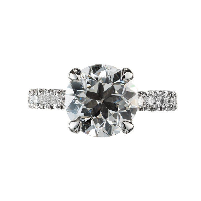 Peter Suchy GIA Certified 3.37 Carat Diamond Platinum Engagement Ring For Sale 2