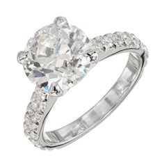 Peter Suchy GIA Certified 3.37 Carat Diamond Platinum Engagement Ring