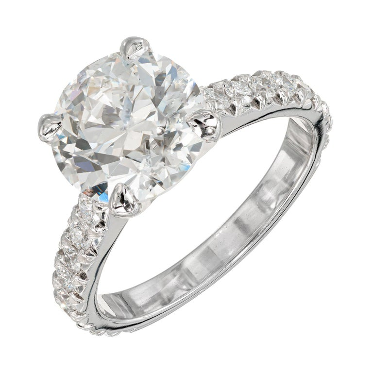 Peter Suchy GIA Certified 3.37 Carat Diamond Platinum Engagement Ring For Sale