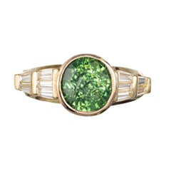 Peter Suchy GIA Certified 3.44 Carat Green Zircon Diamond Gold Engagement Ring