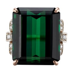 Peter Suchy GIA Certified 34.76 Carat Tourmaline Diamond Gold Cocktail Ring